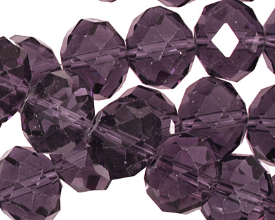 Amethyst Crystal Faceted Rondelle 14mm