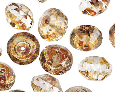 Czech Glass Crystal Picasso Saucer 9x13mm
