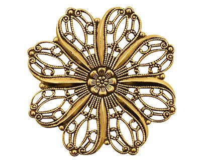 Stampt Antique Gold (plated) Crocus Filigree 36mm