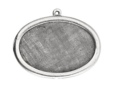 Nunn Design Antique Silver (plated) Large Horizontal Oval Framed Pendant 42x30mm