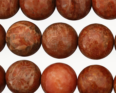Fossil Jasper (red) Faceted Round 14mm
