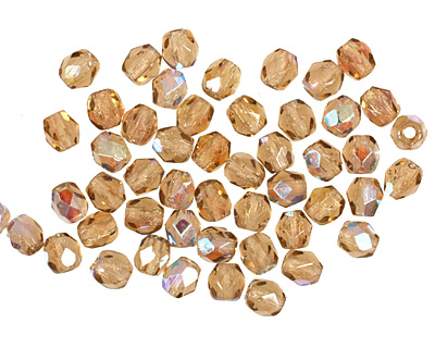 Czech Fire Polished Glass Smoky Topaz AB Round 3mm