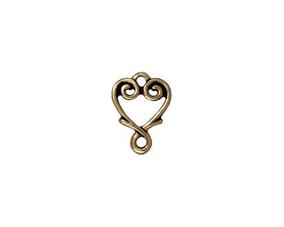 TierraCast Antique Brass (plated) Vine Heart Link 12x10mm