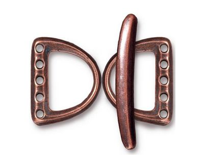 TierraCast Antique Copper (plated) 5 Hole D Ring Clasp Set 15x20mm, 30mm bar