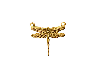 Stampt Antique Gold (plated) Dragonfly 2-Hole Connector 17x16mm