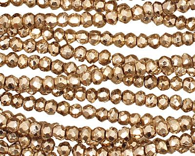 Golden Pyrite Faceted Rondelle 4mm