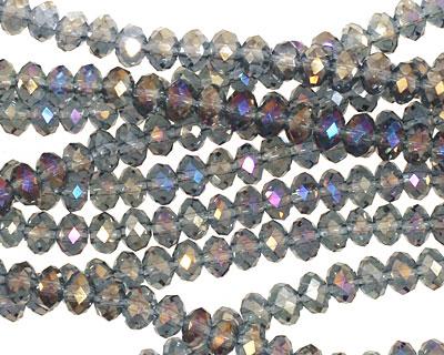 Black Diamond/Metallic Peacock Crystal Faceted Rondelle 4mm