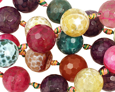 Multi-Color Fire Agate (bright) Faceted Round 18mm