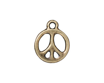 TierraCast Antique Brass (plated) Peace Charm 15x19mm