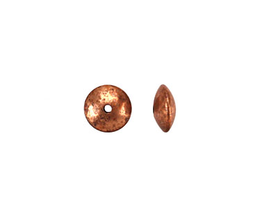 Vintaj Artisan Copper Smooth Saucer Bead 3.5x8mm