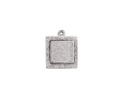 Nunn Design Antique Silver (plated) Raised Tag Mini Square Pendant 18x22mm