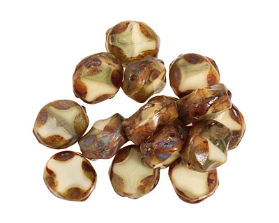 Czech Glass Toasted Marshmallow Table Cut Oval 9x8mm