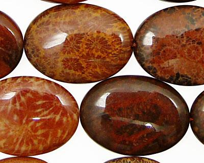 Fossil Jasper (red) Flat Oval 25x18mm