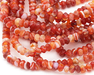 Red Line Agate Faceted Rondelle 2.5x4mm