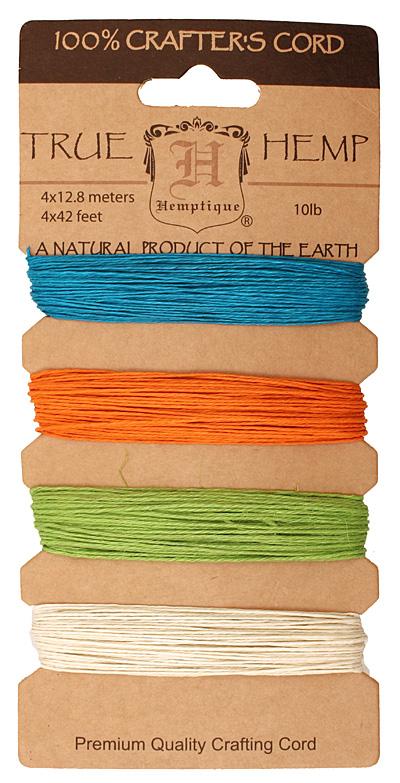 Bright Hemp Twine 10 lb, 42 ft x 4 colors