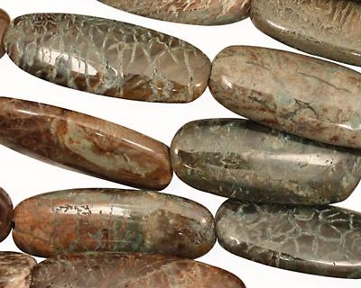 Green Snakeskin Flat Oval 28x10mm