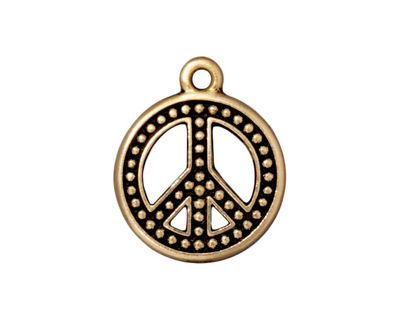 TierraCast Antique Gold (plated) Beaded Peace Pendant 19x23mm