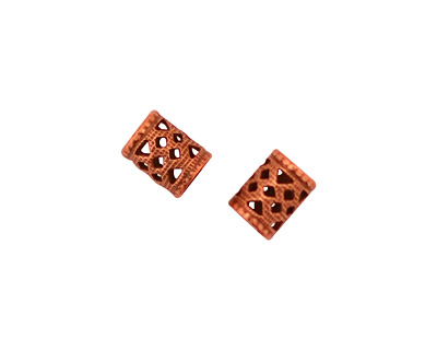 Stampt Antique Copper (plated) Filigree Tube 8x6mm