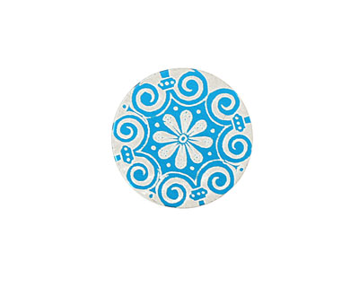 Lillypilly Turquoise Scrolling Daisy Anodized Aluminum Disc 19mm, 24 gauge