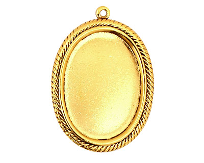 Stampt Antique Gold (plated) Herringbone Double Drop Oval Setting 18x25mm