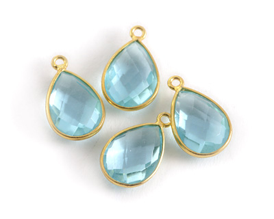 Aquamarine (syn.) Faceted Teardrop Pendant in Gold Vermeil 10-11x18-20mm