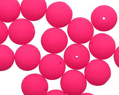 Czech Glass Bright Neon Pink Round 10mm