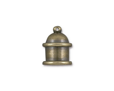 TierraCast Antique Brass (plated) Pagoda 8mm Cord End 15.5x12mm
