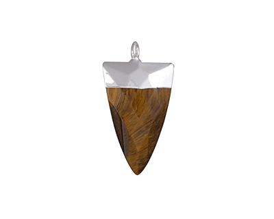 Tiger Eye Faceted Triangle Pendant w/ Silver Finish 13x24mm