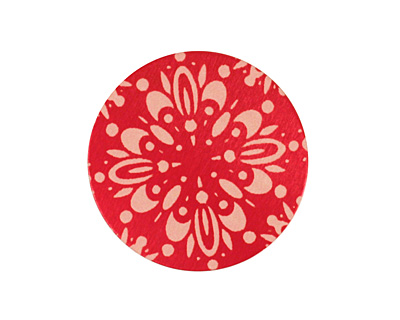 Lillypilly Red Kaleidoscope Anodized Aluminum Disc 25mm, 24 gauge