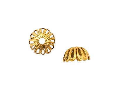 Stampt Antique Gold (plated) Six Cutout Hearts Bead Cap 11x6mm