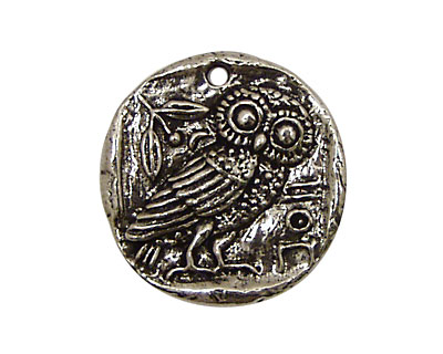 Green Girl Pewter Owl Coin 26mm