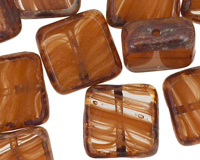 Czech Glass Carmel Candy Square 10mm