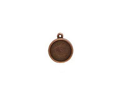 Nunn Design Antique Copper (plated) Mini Circle Frame Charm 15x17mm