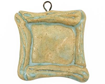 Gaea Ceramic Aqua on Buff Square Bezel 25mm
