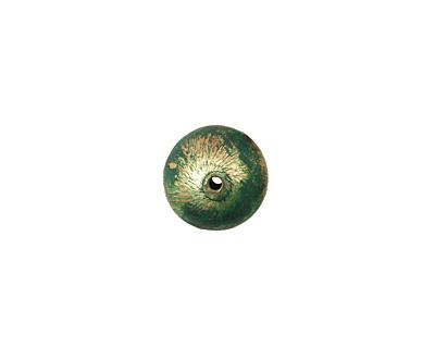 Missficklemedia Patinated Laurel Green Satin Brushed Rondelle 11x17mm