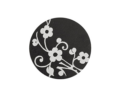Lillypilly Black Floral Vine Anodized Aluminum Disc 25mm, 22 gauge