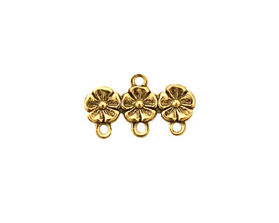 Stampt Antique Gold (plated) African Violets Row 3 Ring Connector 19x11mm