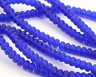 Royal Blue Recycled Glass Rondelle 3x4mm