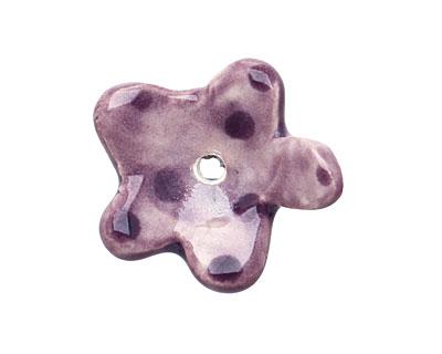 Jangles Ceramic Purple Flower Pendant 5x24-27mm