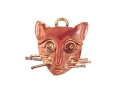 Patricia Healey Copper Cat Face Charm 26x24mm
