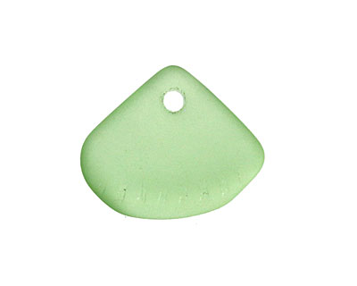 Peridot Recycled Glass Clam Shell Drop 25x21mm