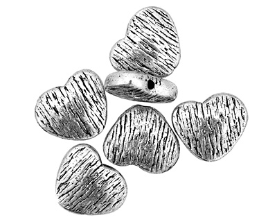 Pewter Textured Heart 10x12mm