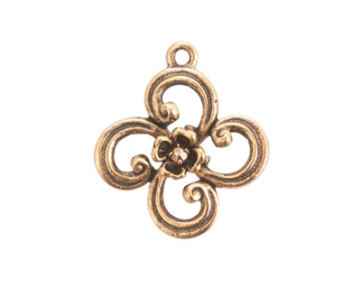Nunn Design Antique Gold (plated) Fanciful Flower Petal Charm 22x25mm