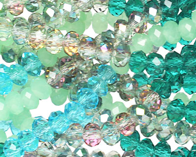 Sea Breeze Crystal Mix Faceted Rondelle 4mm