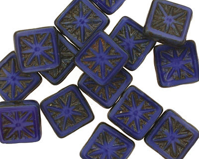 Czech Glass Sapphire Blue Picasso Flower Window Square 10mm