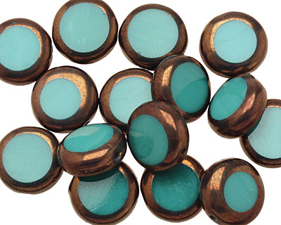 Czech Glass Bronzed Turquoise Coin 10mm