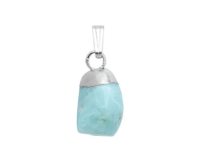 Larimar Nugget Drop Pendant Set in Silver (plated) 8-10x12-22mm