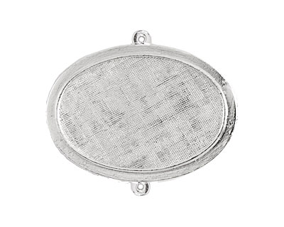 Nunn Design Sterling Silver (plated) Horizontal Raised Oval Pendant 44x35mm