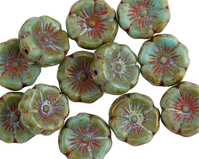 Czech Glass Sea Green Picasso Hibiscus Coin 12mm