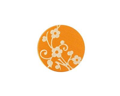 Lillypilly Orange Floral Vine Anodized Aluminum Disc 19mm, 24 gauge